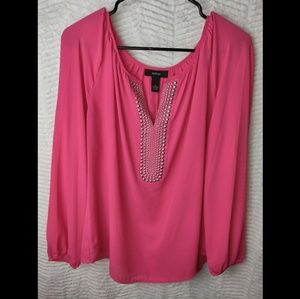 Alfani Pink V-Neck Long Sleeve Tunic Blouse Sz 12